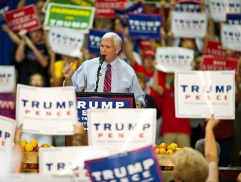 Donald Trump's running mate, Indiana Gov. Mike Pence, makes his speech to the crowd at a town hall meeting at Georgia National Fairgrounds and Agricenter in Perry, Ga.