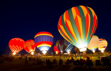 Hot air balloons light up the sky at the Perry Dogwood Festival Balloon Glow.