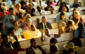A large crowd attended the prayer service at Steward Chapel AME Church for the 9 people killed in Charleston shooting.
