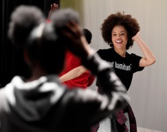 "Sasha Hutchings, a graduate of Central's Fine Arts and International Baccalaureate program and member of the cast of the Broadway show ""Hamilton,"" conducts a workshop with a Central High School's theater class."